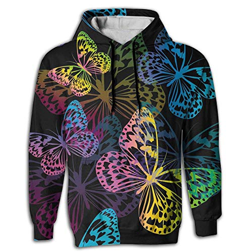 Field Rain Butterfly Men's Pullover Hooded Sweatshirt with Pockets Hoodies