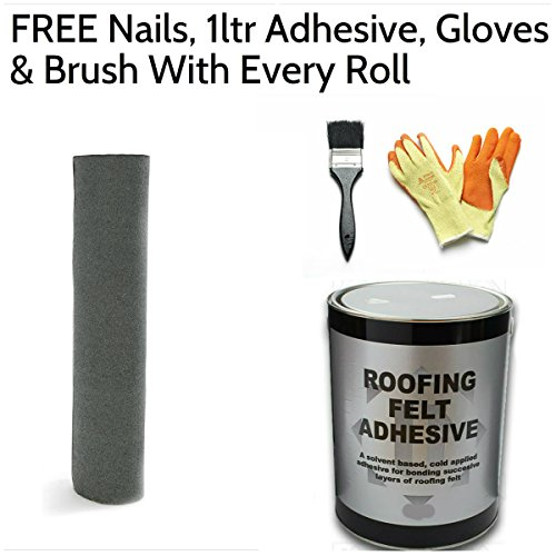 51tEbvK8sKL. SS500  - Green Mineral Premium Shed Roofing Felt with Nails, 1ltr Adhesive, Gloves & Brush 10m