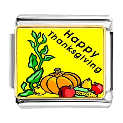 GiftJewelryShop Gold Plated Happy Thanksgiving pumpkin fruit corn Bracelet Link Photo Italian Charms