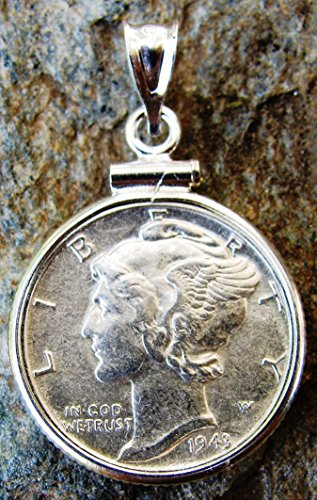 Dime Pendant (Sterling Silver MERCURY DIME Coin Edge Coin Pendant Genuine Brilliant MERCURY DIME COIN INCLUDED)