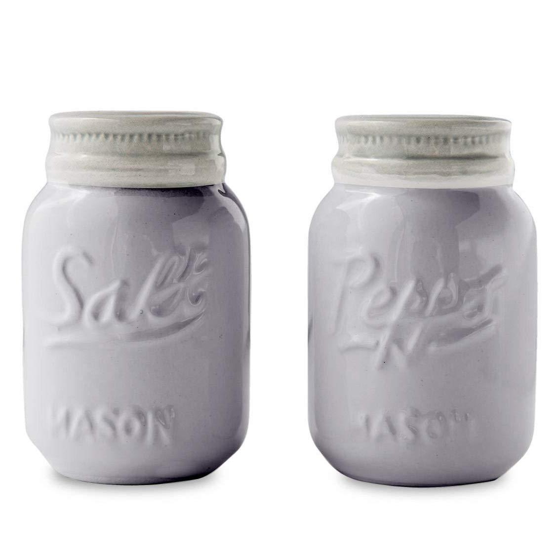 Comfify Vintage Mason Jar Salt & Pepper Shakers Adorable Decorative Mason Jar Decor for Vintage, Rustic, Shabby Chic - Sturdy Ceramic in Grey - 3.5 oz. Cap.