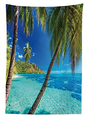 Ambesonne Ocean Tablecloth, Image of a Tropical Island with The Palm Trees and Clear Sea Beach Theme Print, Dining Room Kitchen Rectangular Table Cover, 60 W X 90 L inches, Turquoise Blue