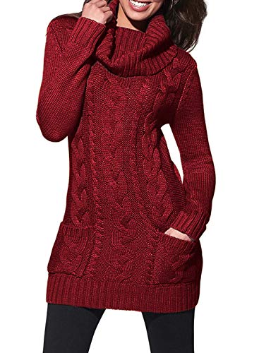 Sidefeel Women Cowl Neck Cable Knit Long Sleeve Slim Sweater Jumper Medium Burgundy Chunky Knit Sweater Dress