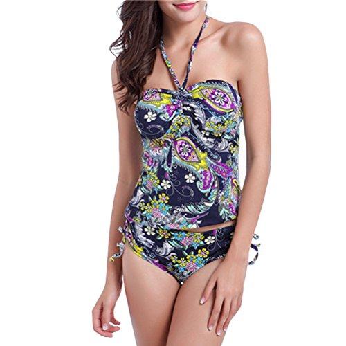 Zhhlinyuan Womens Split Halterneck High Waist Swimwear Two Piece Floral Bikini Set Swimsuit Navy