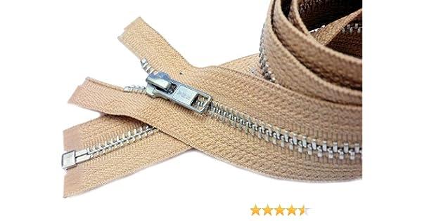 Medium Weight Separating Color Light Beige 573 1 Zipper//pack Sale 27\ Jacket Zipper YKK #5 Aluminum Metal