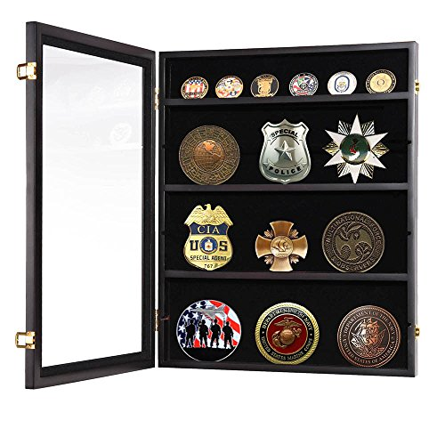 66lbs-Lockable-Challenge-Coin-Display-Wall-Cabinet-Wood-Case-Casino-Chip-Shadow-Box