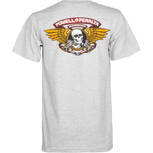 Swiss Powell (Powell-Peralta Winged Ripper Gray T-Shirt, XX-Large)