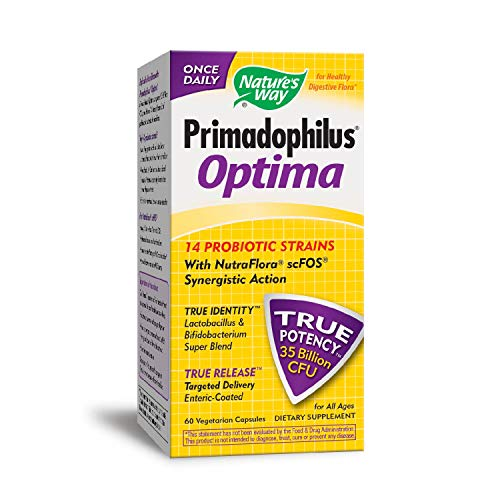 Nature's Way FortifyTM Optima® 14 Probiotic Strains True Potency 35 Billion CFU, 60 VCaps (Refrigeration Required to maintain maximum (Best Nature's Way Probiotics For Women)