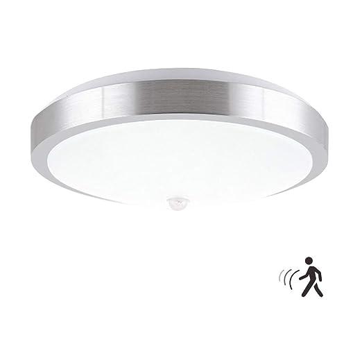 ZHMA Luz de sensor de movimiento, 12W PIR LED Luz de techo, Auto encendido/apagado luces nocturnas, 960LM, blanco frío, luces de seguridad para el ...