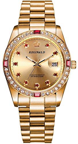 (REGINALD Unisex Watch Luminous Hands Sapphire Full Gold Stainless Steel Quartz Diamonds Dial Watches (Gold))