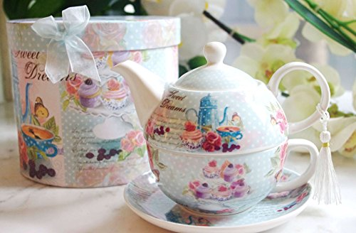 "TEA FOR ONE : Porcelain Teapot with Lid, Tea Cup and Saucer + FREE decorative GIFT BOX, the ""Sweet Dreams"" model"