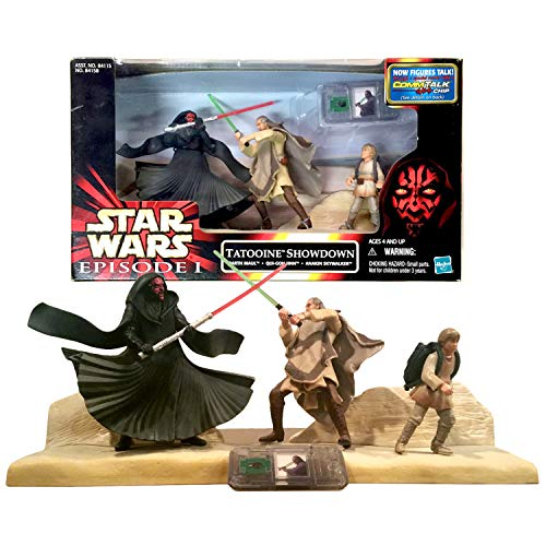 Star Wars Year 1999 Episode 1 The Phantom Menace Series 4 Inch Tall Figure Set - Tatooine Showdown with Darth Maul, Qui-Gon Jinn and Anakin Skywalker Plus CommTech Chip and Display Base ()