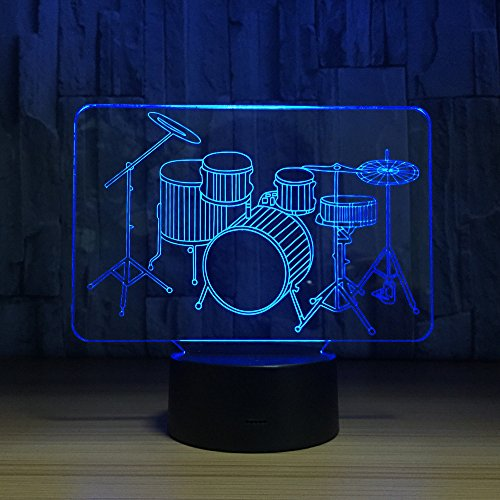 3D Optical Illusion Drum Set Night Light Lamp 7 Color Changeable Toy Drum Kit LED Desk Decoration Lamp Best Gift for for Music Lovers Fans ...