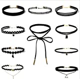 URToys 10pcs/lot Women's Chockers Trendy Bijoux Femme Lace Chokers Necklaces for Women Collares Mujer Black Velvet Choker
