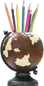 Globe Desk Pen Holder Pencil Cup Brown Pen Organizer Vintage Pen Holder Men Home Office Gifts