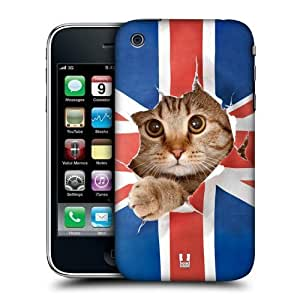 Head Case Designs Union Jack Peeping Cat Funny Animals Protective Snap-on Hard Back Case Cover for Apple iPhone 3G 3GS by ruishername