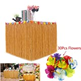 BAKHUK 1Pack Hawaiian Table Hula Grass Skirt with Little Flowers and 30Pcs Hibiscus Flowers for Tabletop Decoration, Party Decoration, Birthdays, Celebration