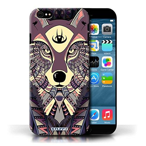 Hülle Case für Apple iPhone 6/6S / Wolf-Purpur Entwurf / Aztec Tier Muster Collection