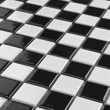 Keramikfliesen  Mosaik Keramik Fliesen 25x25x4mm Schwarz Schachbrett: Amazon.de ...