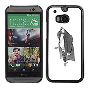 Colorful Printed Hard Protective Back Case Cover Shell Skin for HTC One M8 ( Man Big Grey Pencil Art Drawing Wanderer )