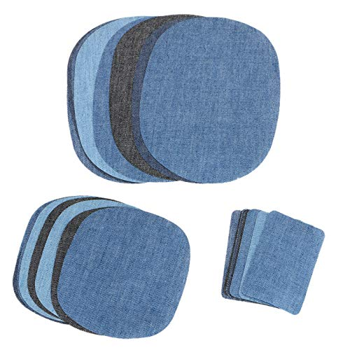 3 Dungarees (EEEKit Iron on Denim Patches Fabric Patches on Clothing, Repair Patches Kit for Clothes, Jacket, Jeans, Dungarees (3 Size, 5 Basic Colors, 30 Pieces))