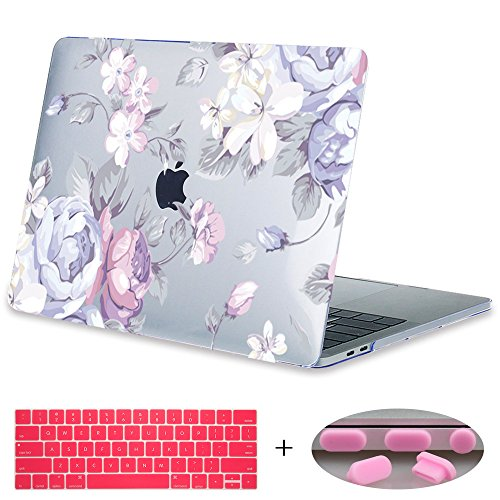 "MacBook Pro 13 Case 2017 & 2016 Release A1708,Mektron Floral Print Hard Case Shell with Keyboard Cover For Macbook New Pro 13"" A1708 without Touch bar (Beautiful White Flowers)"