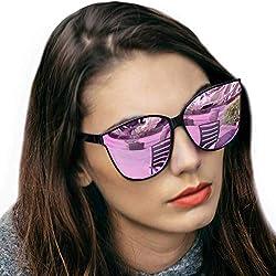 Gafas de sol estilo ojo de gato extragrandes con lentes de protección 100% UV polarizadas para las mujeres que conducen gafas de moda (Marco Negro/Lente Rosa)