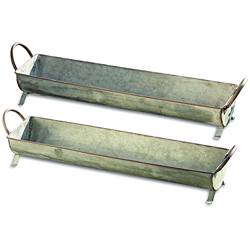 The Farmer's Market Galvanized Metal Basket Planters, Set of 2, Long Trough Shaped, Zinc, 28 and 25 Inches, For Container Gardens, By Whole House Worlds