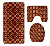 Velvet Tub-Shower Bath Rug Set - 3 Pack Toilet Carpet Rugs Includes U-Shaped Bath Mats Lid Cover, Non Skid Shaggy Mat Absorbent Shaggy Rugs (The Shining Overlook Hotel)