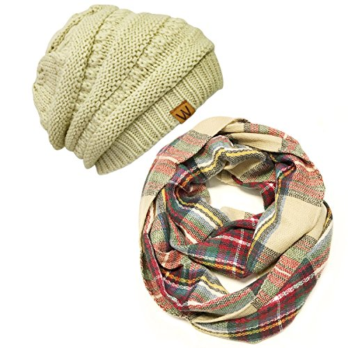 Wrapables Plaid Print Infinity Scarf and Beanie Hat Set, Red and Green