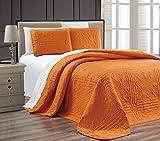 3-Piece ORANGE Oversize ''Stella Grande'' Bedspread KING / CAL KING Embossed Coverlet set 118 by 106-Inch