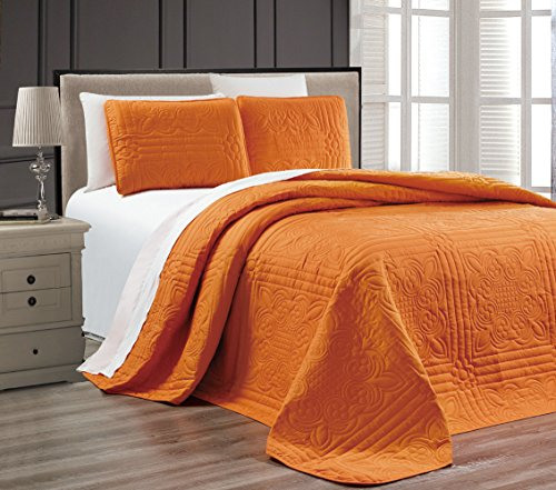 New 3-Piece ORANGE Oversize Stella Grande Bedspread KING / CAL KING Embossed Coverlet set 118 by 1...