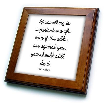 3dRose Elon Musk Inspirational Quote Framed Tile 6 x 6