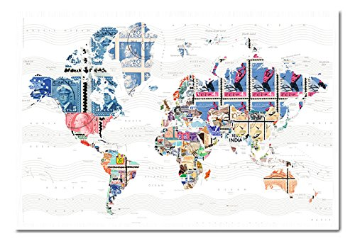 World map in stamps poster cork pin memo board white framed 965 x world map in stamps poster cork pin memo board white framed 965 x 66 cms approx 38 x 26 inches buy online in oman kitchen products in oman gumiabroncs Image collections
