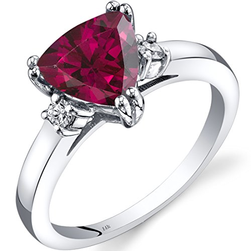 (Peora 14K White Gold Created Ruby Diamond Ring Trillion Cut 2.25 Carat)