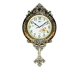 Graces Dawn 21.5'' Light-weight Antique Retro Elegant Decorative Clocks Ultra Mute Silent Quartz Movement Wall Clock with Swinging for Kitchen Living Room Home Decoration (Bronze)