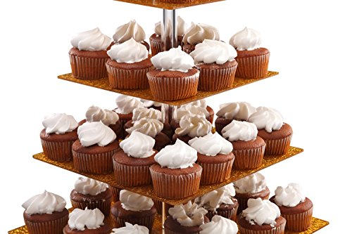 Eglaf Acrylic 5-Tier Gold Cupcake Stand Cakes and Desserts Display Tower/Food Display Platter for Wedding Party (5-Tier-Square-Gold) by Eglaf (Image #6)