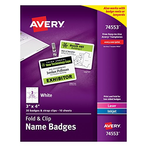 Avery Fold and Clip Name Badges, 3 x 4 Inches, White, Box of 30  (74553) by Avery