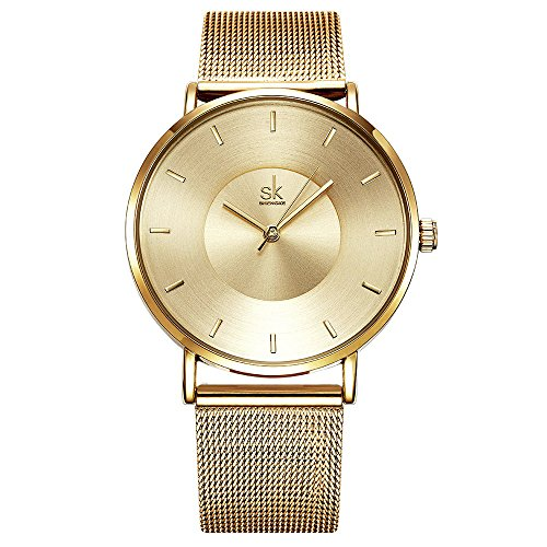 SK Simple Watches on Sale Gold Analog Jewelry Watches for Women Stainless Steel Band (Gold)