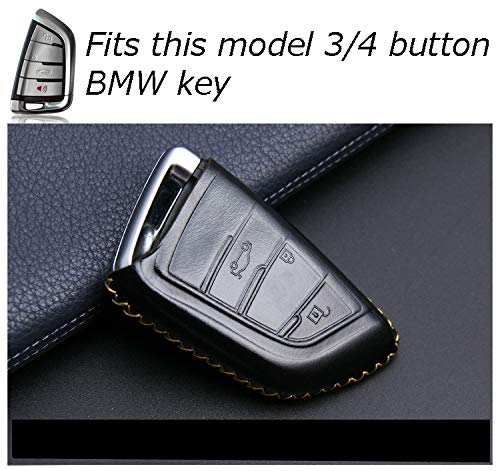 CHAMPLED For BMW X1 X5 X6 F15 F16 F48 G38 BMW 1//2 Series Protective Car Remote Leather Skin Case Cover Holder Jacket Bag Pouch Fob Hook Protection Key Chain Key Ring