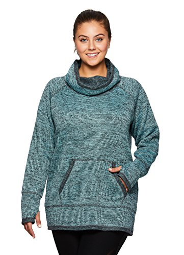 RBX Active Women's Plus Size Long Sleeve Fleece Lined Lightweight Cowl Neck Sweater Aquamarine 1X (Plunging Cowl)