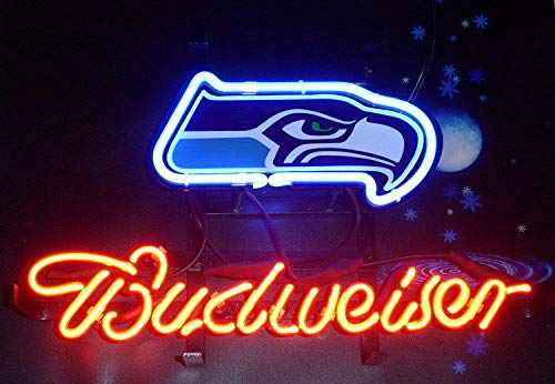 "Queen Sense 20""x16"" Budweisers Seattle SeahawkNeon Sign (VariousSizes) Beer Bar Pub Man Cave Glass Light Lamp BW153"
