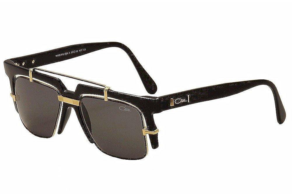 19879d09c6b9 Amazon.com  Cazal Legends 873 001 Shiny Black Gold Retro Fashion Sunglasses  53mm  Clothing