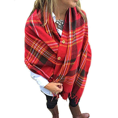 Pretty Simple Plaid Button Blanket Scarf Shawl Women's Wrap (Red)