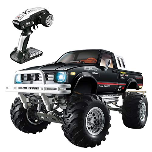 BHTKJ HG Rally RC Car 1/10 2.4G 4WD Pickkup Truck, 3-Speed Radio Control Metal 4×4 Truck Rock Crawler (Black)