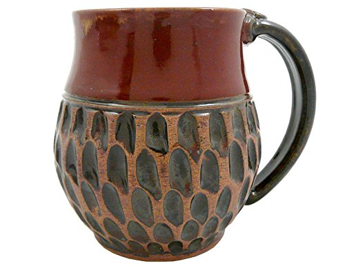 American-made Earthy Terrain Carved Pottery Mug, 16-ounce (Moroccan Red)