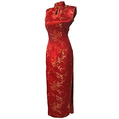 7Fairy Femmes Rouge Chinois Robe de mariee Qipao Floral Longue Trou De Serrure