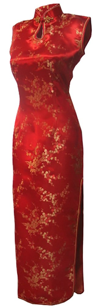 7Fairy Women's Vtg Asian Red Long Chinese Wedding Dress Cheongsam Size 14 US