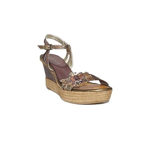 Confort Casual Color 5006 2018 Piel Sandalias Cuña Marrón 3024 Y Esparto Zapatos Alta Plataforma Flores Ixart Verano Cómodos DIHEW29
