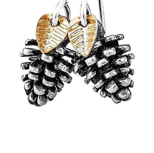 Tiny Pinecone Earrings With Leaves in Sterling Silver, Gold Plate, and Silver Plated Brass